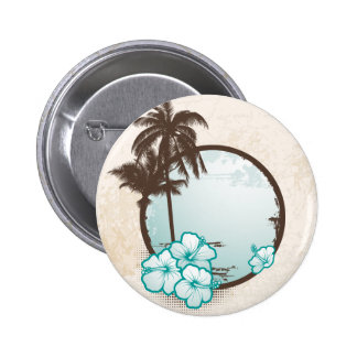Tropical blue circle 6 cm round badge