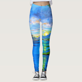 Tropical Blue Design Leggings