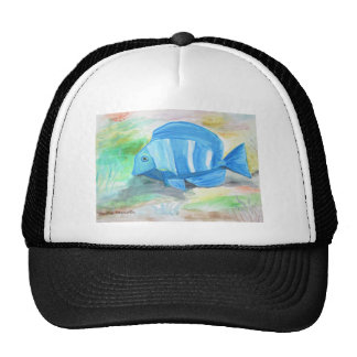 Tropical blue fish mesh hat