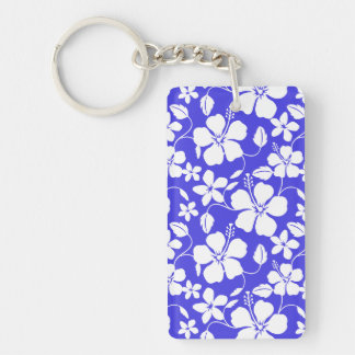 Tropical Blue Floral Rectangle Acrylic Key Chain