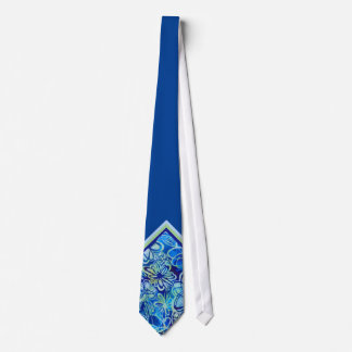 Tropical Blue Floral Neck Tie