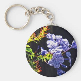 Tropical Blue Flower Basic Round Button Key Ring
