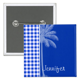 Tropical Blue Gingham Pinback Buttons