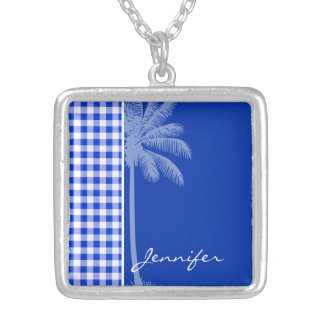 Tropical Blue Gingham Personalized Necklace