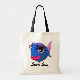 Tropical blue girl fish book bag