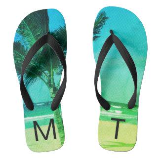 Tropical Blue/Green Beach & Palm Tree Initial Flip Flops