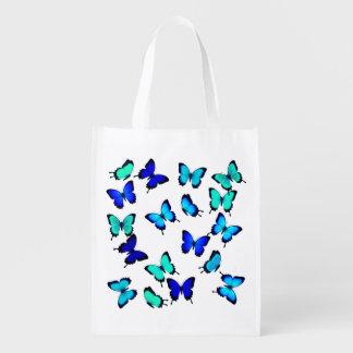 Tropical Blue Green Butterflies Grocery Bag