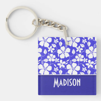 Tropical Blue Hibiscus; Cute Square Acrylic Key Chains