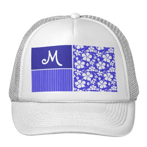Tropical Blue Hibiscus Flower; Floral Trucker Hat