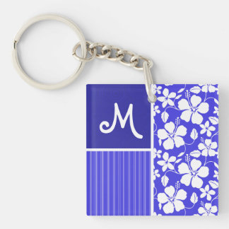 Tropical Blue Hibiscus Flower; Floral Double-Sided Square Acrylic Keychain