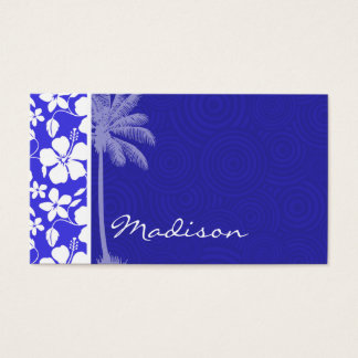Tropical Blue Hibiscus; Palm Business Card