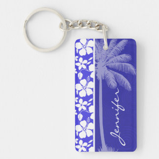 Tropical Blue Hibiscus; Palm Double-Sided Rectangular Acrylic Key Ring
