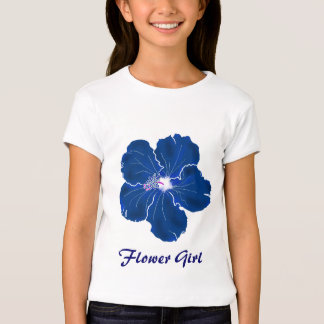 Tropical Blue Hibiscus Wedding Flower Girl T-Shirt