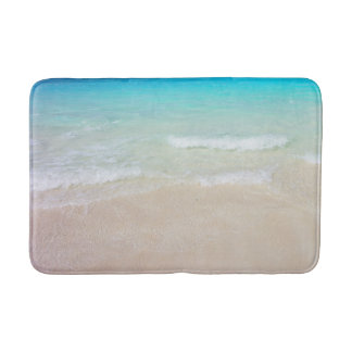 Tropical Blue Ocean and Beach Sand Bath Mat