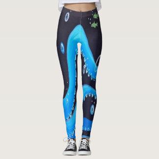 Tropical Blue  Octopus Design Leggings