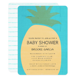 Tropical Blue Pineapple Baby Shower Invite