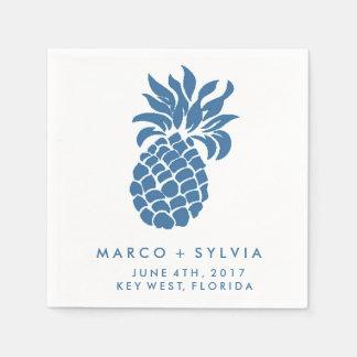 Tropical Blue Pineapple Beach Wedding Napkins Disposable Serviette
