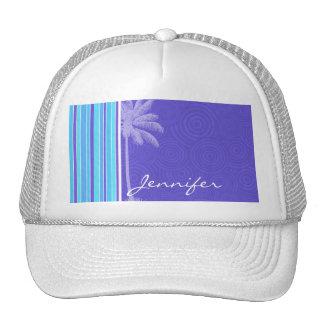 Tropical Blue & Purple Stripes; Striped Trucker Hat
