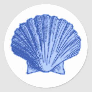 Tropical Blue Seashell Stickers