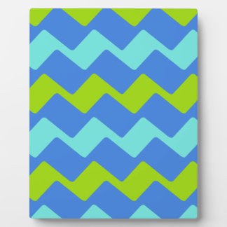 Tropical Blue Wavy Stripes Plaque