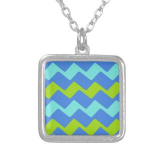 Tropical Blue Wavy Stripes Square Pendant Necklace