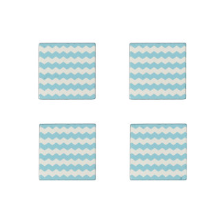 Tropical Blue White Sand Chevron Stone Magnet