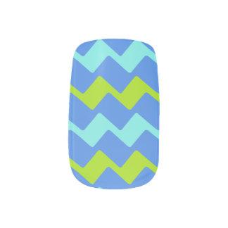 Tropical Blues Zags Minx Nail Art