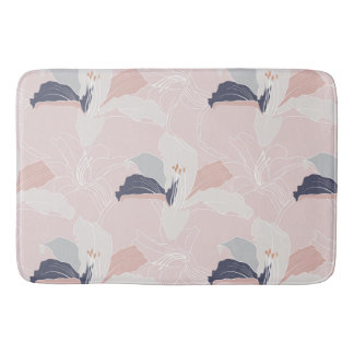 Tropical Blush Floral Bath Mat Bath Mats