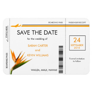 Tropical Boarding Pass Save the Date Magnets