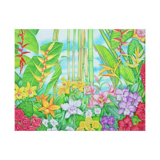 Tropical Botanical Gallery Wrapped Canvas