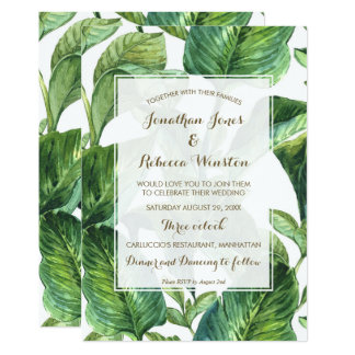 tropical botanical palm leaves wedding invitation