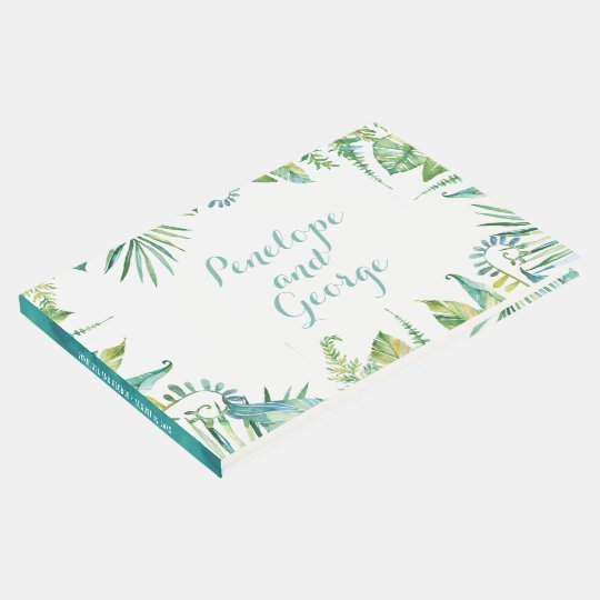 Tropical Botanical Watercolor Wedding Guestbook