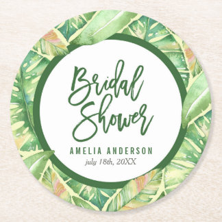 Tropical Bridal Shower Green Watercolor Leaves Round Paper Coaster