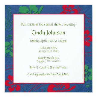 "Tropical Bridal Shower Invitation - Custom Photo 5.25"" Square Invitation Card"