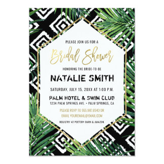 Tropical Bridal Shower Invitation Palm Fronds Gold