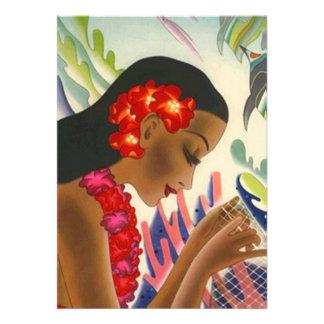 Tropical Bridal Shower Luau Party Tiki Invitations