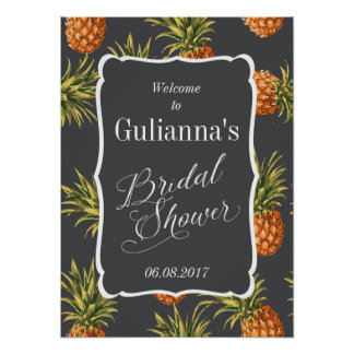 Tropical Bridal Shower Welcome Sign Pineapple Poster