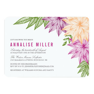 Tropical Brights Bridal Shower 13 Cm X 18 Cm Invitation Card