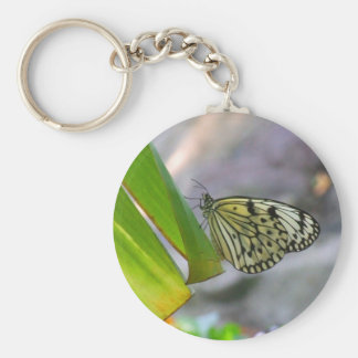 tropical butterfly basic round button key ring