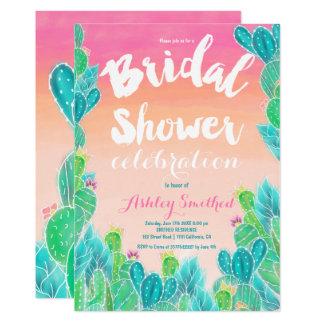Tropical cactus watercolor bridal shower card