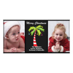 Tropical Candy Cane Palm Tree Photo Christmas Card Picture Card