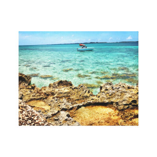 Tropical canvas art with turquoise water