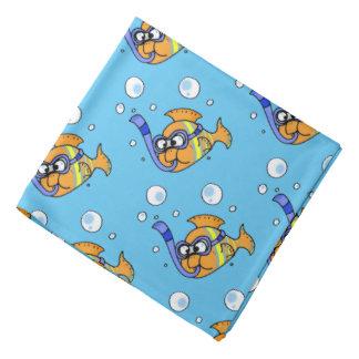 tropical cartoon fish pattern bandana