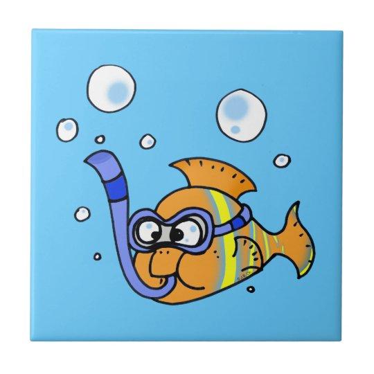 tropical cartoon fish small square tile