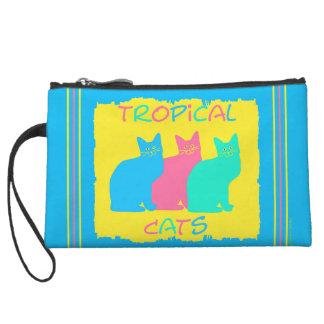 """""""Tropical Cats"""" Blue Mini Clutch Wristlet Clutch"""