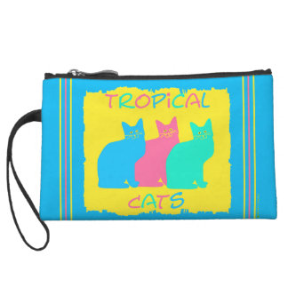 """Tropical Cats"" Blue Mini Clutch Wristlet Clutch"