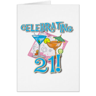 Tropical Celebrating 21 Greeting Card
