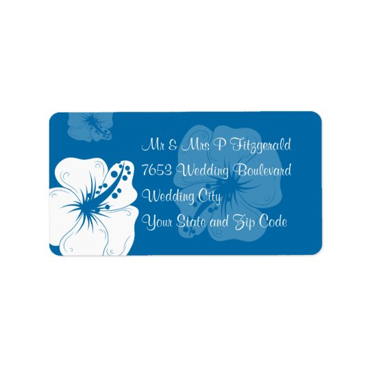 Tropical Cerulean Blue and White Hibiscus Wedding Label