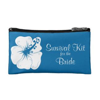 Tropical Cerulean Hibiscus Bridal Survival Kit Makeup Bag