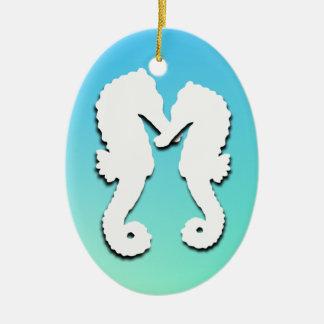 Tropical Christmas Aqua Seahorse Photo Ornament